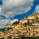 trevi, italy, city, architecture, building, clouds, ancient, town, church, hill wallpaper
