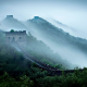 great wall of china, china, mountains, fog, forest wallpaper