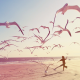beach, seagulls, sea, children, kid wallpaper