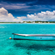 mauritius, island, tropics, sea, boat, clouds, turquoise, water, ocean, nature wallpaper