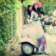 asian, women, model, dress, hat, flowers, moped, motorbike, motor bicycle wallpaper