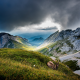 mount pilatus, switzerland, mountains, clouds, ibex, nature, landscapes, paragliding, valleys, grass wallpaper