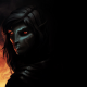 fantasy art, the elder scrolls v: skyrim, dark elf, fire, elves, dark, red eyes, games wallpaper