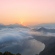 sunrise, south korea, clouds, mountains, lake, nature, mist, forest wallpaper
