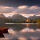 high tatras, high tatra mountains, slovakia, nature, mountains, sunset, lake, forest, boat, calm, cl wallpaper