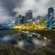 reflection, puddle, city, seattle, cityscape, architecture, skyscrapers, usa, night, lights, long ex wallpaper