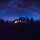 house, night, milky way, stars wallpaper