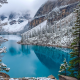 moraine lake, canada, winter, turquoise, water, forest, mountains, snow, nature wallpaper