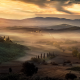 fog, sunrise, mist, tuscany, italy, field, nature wallpaper
