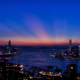 hong kong, city, ckycrapers, sea, sunset, panorama wallpaper