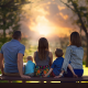 family, kids, parents, sunset, bench wallpaper