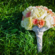 bridal bouquet, flowers, wedding, flowers, grass, rose, peony wallpaper