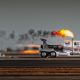 jet truck, trucks, car, speed, smoke, fire, shockwave wallpaper