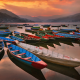 phewa lake, pokhara - Nepal, boat, lake, sunset, reflection, evening, nature wallpaper