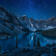 moraine lake, lake, alberta, canada, night, nature, mountains, landscape, tree, stars wallpaper