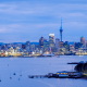 auckland, new zealand, city, sunset, skyscrapers wallpaper