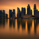 merlion park, singapore, skyscrapers, city, sunset wallpaper