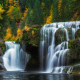 lower lewis river falls, lewis river, washington, waterfall, forest, autumn, fall, nature wallpaper