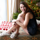 imogen, christmas, new year, smile, christmas tree, women, brunette wallpaper