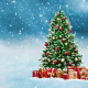 christmas tree, gifts, snow, christmas wallpaper