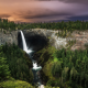 waterfall, forest, tree, clouds, british columbia, canada, nature, landscape wallpaper
