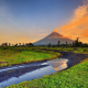 mayon volcano, mount mayon, albay, luzon, philippines, sunset, nature wallpaper