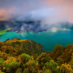 rinjani volcano, lombok, mount rinjani, nature, lake, turquoise, water, forest, mountains, clouds, i wallpaper