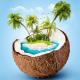 coconut, island, cg render, blue background, palm tree, tropical wallpaper