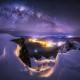 queenstown, lights, nature, milky way, galaxy, city, starry night, mountain, snow, winter wallpaper