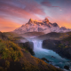 torres del paine national park, patagonia, chile, mountains, river, sunrise, landscape, nature, peak wallpaper
