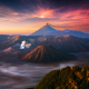 bromo, volcano, java, indonesia, sunrise, fog, mountains, nature wallpaper