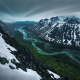 mountains, snow, river, valley, snowy peak, spring, sweden, nature, landscape wallpaper