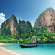 krabi, thailand, long-tail boat, ruea hang yao, beach, sea, sand, boat, nature, mountains wallpaper