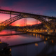 dom luis bridge, bridge, porto, portugal, sunset, double-decked metal arch bridge, douro river wallpaper