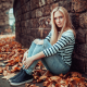 women, sitting, pants, jeans, torn jeans, sneakers, leaf, autumn wallpaper