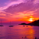 ibiza, spain, sea, sunset, yacht, nature, clouds wallpaper