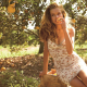 women, blonde, women outdoors, dress, nature, trees, fruit, model, long hair, Tanya Mityushina, sunl wallpaper