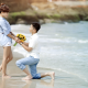asian, couple, love, beach, flowers, sea, bouqet, women  wallpaper