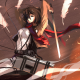 shingeki no kyojin, mikasa ackerman, feather, sword, anime wallpaper