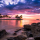 tanjung aru, kota kinabalu, sabah, borneo, shangri-la tanjung aru resort, malaysia, nature, landscape, sunset, tropical, beach, clouds, sky, sea, palm trees, rocks wallpaper