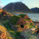 water, sea, iceland, house, stones, grass, mountains, nature, landscape wallpaper
