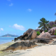 Seychelles, nature, landscape, island, beach, rock, palm trees, sea, sand, mountain, tropical, summe wallpaper