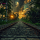 nature, landscape, railway, sunset, palm trees, clouds, shrubs, Sri Lanka, tropical wallpaper