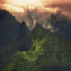 Kauai, Hawaii, landscape, nature, clouds, sunrise, mountain, creeks, green wallpaper