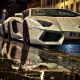 lamborghini, water drops, cars, white cars, night wallpaper
