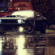 dodge challenger srt, dodge, rain, lights, black cars wallpaper