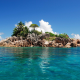 st. pierre, praslin, seychelles, tropical, island, nature, palm, rocks, ocean, indian ocean, cote dor wallpaper