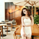 asian, model, women, redhead, vietnameese, summer dress, cafe wallpaper