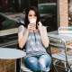 brunette, sitting, coffee, cafe, jeans, women wallpaper