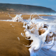 beach, sea, sand, waves, spray, foam, close-up wallpaper